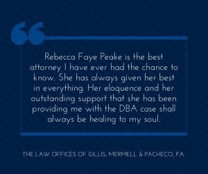 Rebecca Faye Peake is the best attorney I have ever had the chance to know
