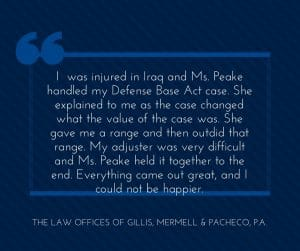 Satisfied Client of Florida Defense Base Act Lawyer