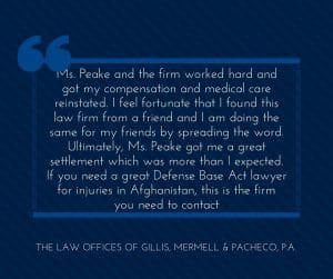 Kentucky Defense Base Act Lawyer Gets the Job Done