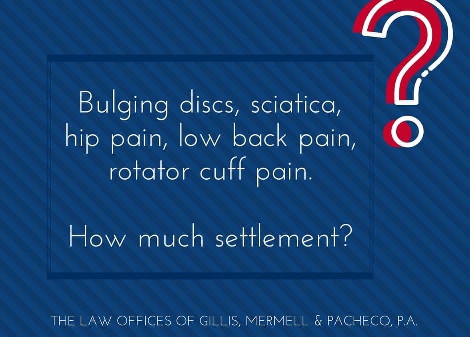 Bulging discs, sciatica, hip pain, low back pain settlement?