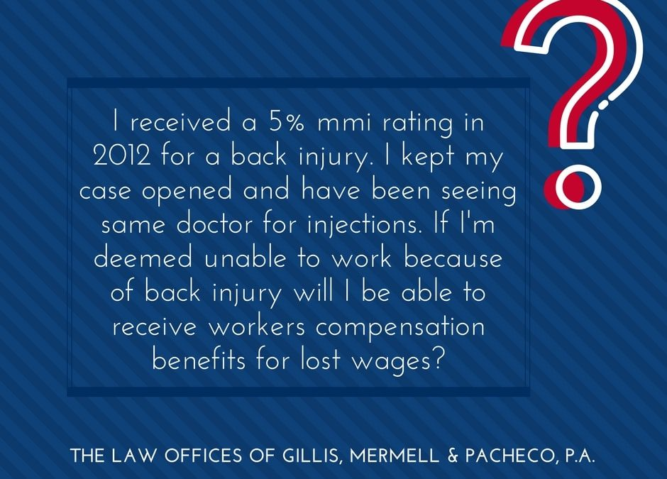 5% MMI rating due to back injury