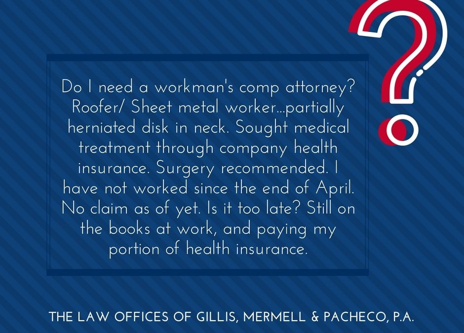 Roofer/ Sheet metal worker partially herniated disk in neck